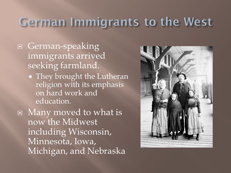 German Immigrants to the West