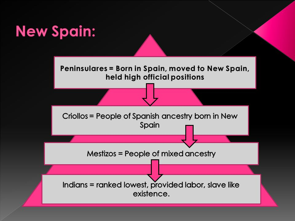 New Spain: Peninsulares = Born in Spain, moved to New Spain, held high official positions. Criollos = People of Spanish ancestry born in New Spain.