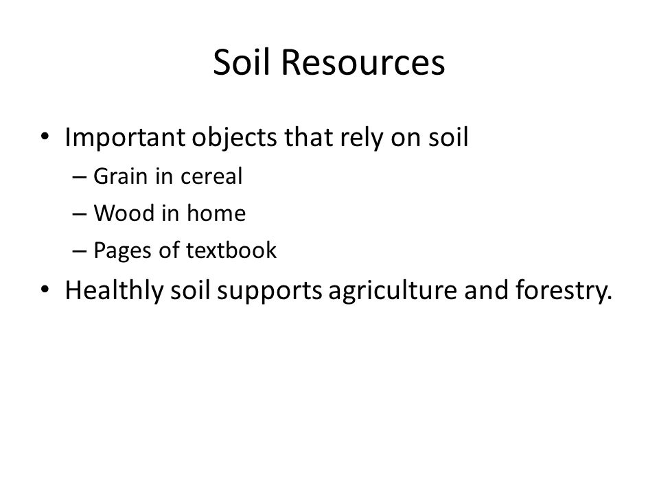 Soil Resources Important objects that rely on soil