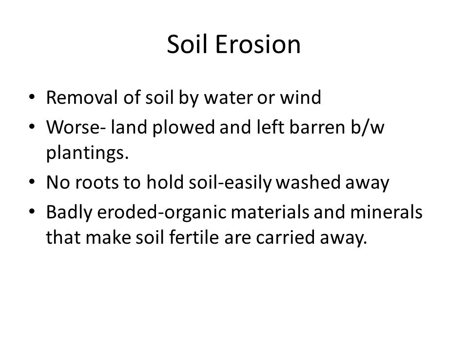 Soil Erosion Removal of soil by water or wind