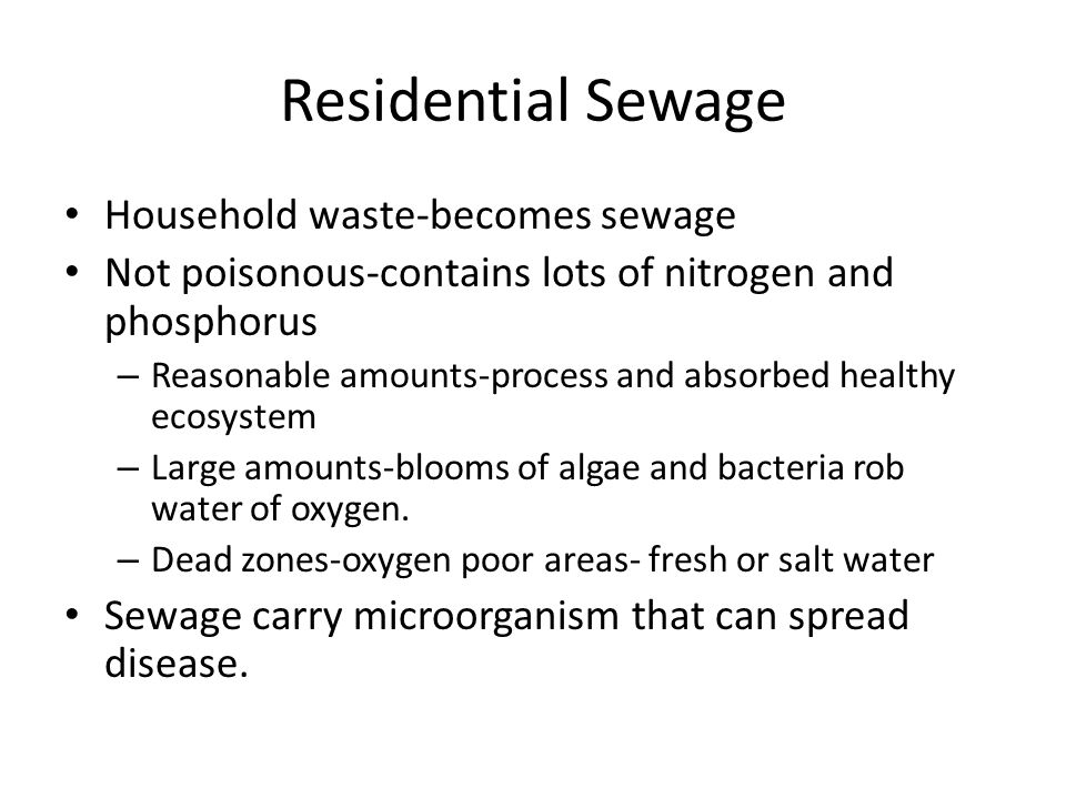 Residential Sewage Household waste-becomes sewage