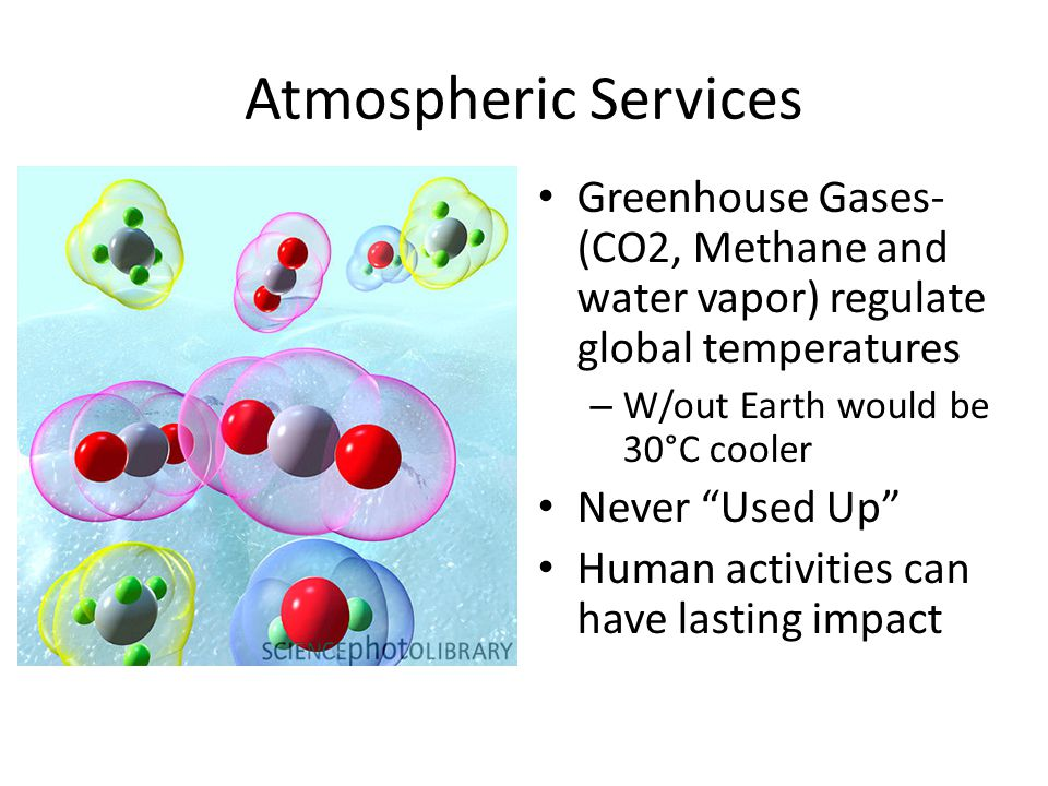 Atmospheric Services Greenhouse Gases- (CO2, Methane and water vapor) regulate global temperatures.