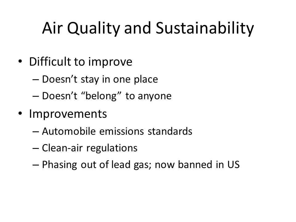 Air Quality and Sustainability