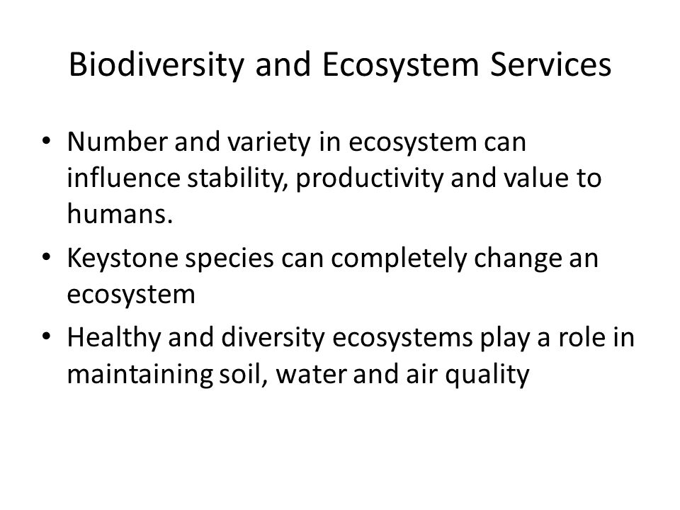 Biodiversity and Ecosystem Services