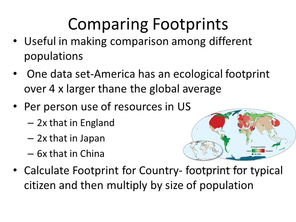 Comparing Footprints Useful in making comparison among different populations.