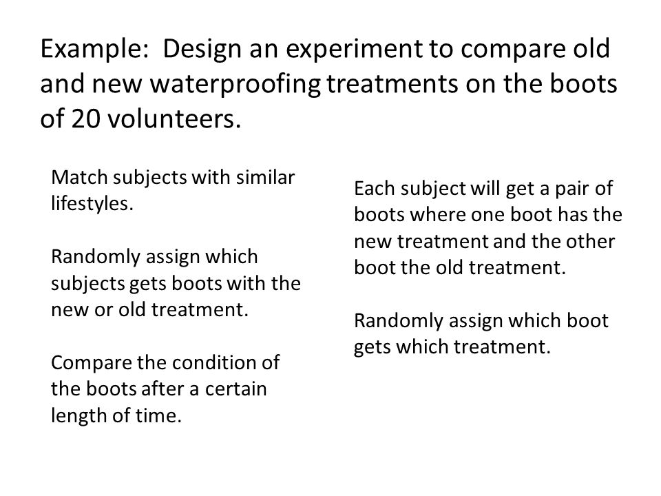 Example: Design an experiment to compare old and new waterproofing treatments on the boots of 20 volunteers.