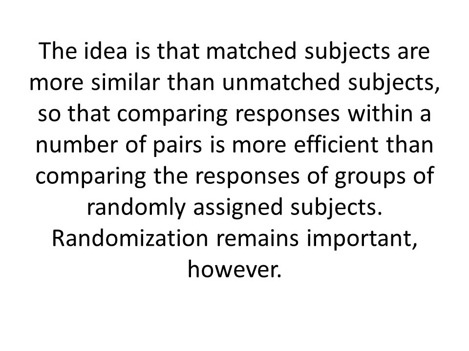 The idea is that matched subjects are more similar than unmatched subjects, so that comparing responses within a number of pairs is more efficient than comparing the responses of groups of randomly assigned subjects.