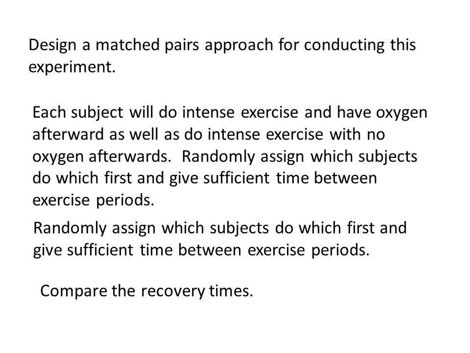 Design a matched pairs approach for conducting this experiment.