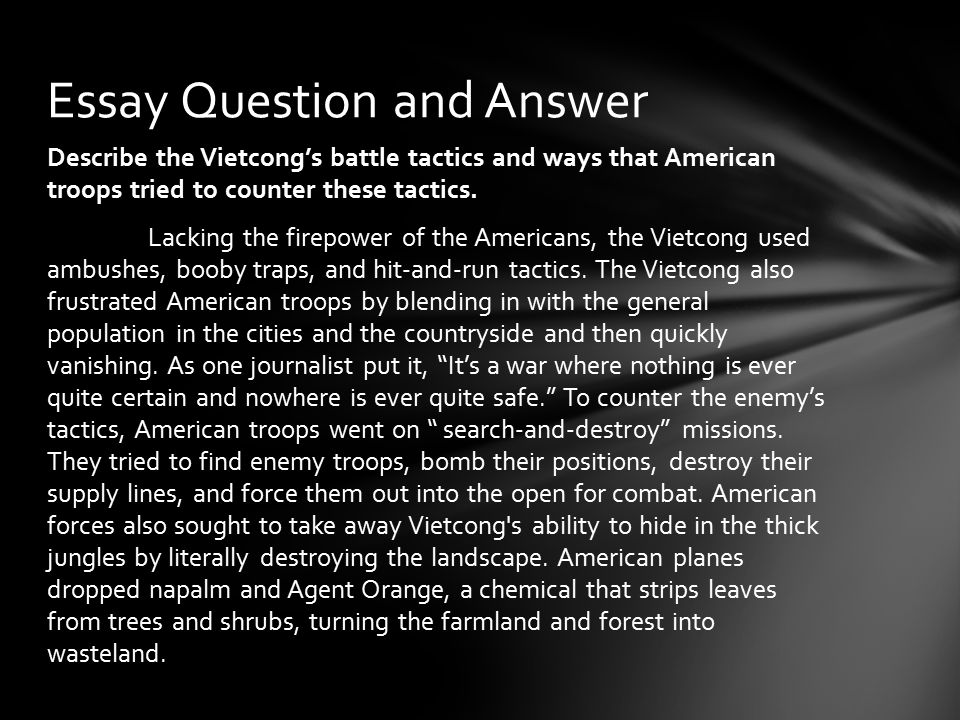 an analysis of military tactics of usa and the vietcong A summary of johnson and escalation: 1964–1966 in history sparknotes's the vietnam war (1945–1975) learn exactly what happened in this chapter, scene, or section of the vietnam war (1945–1975) and what it means.