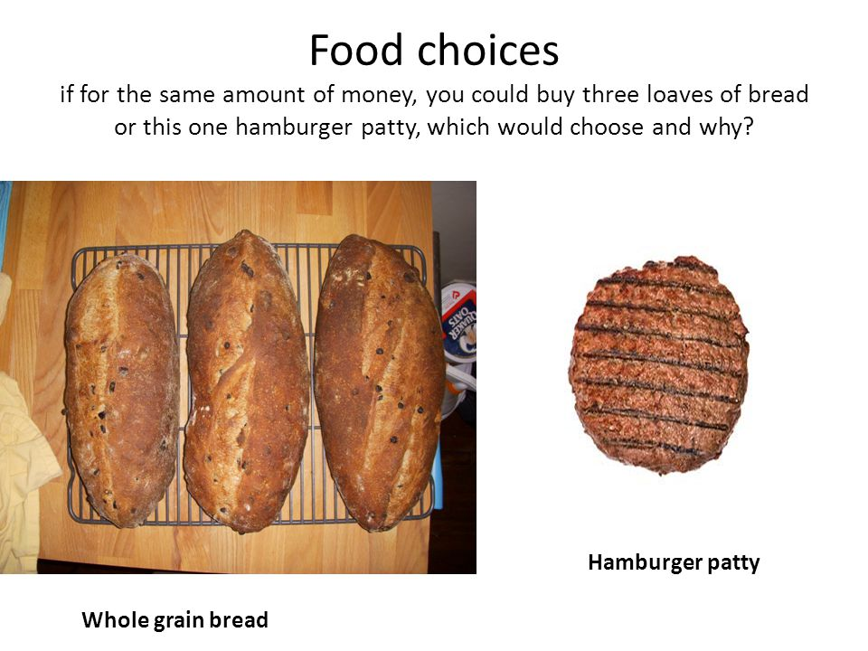 Food choices if for the same amount of money, you could buy three loaves of bread or this one hamburger patty, which would choose and why