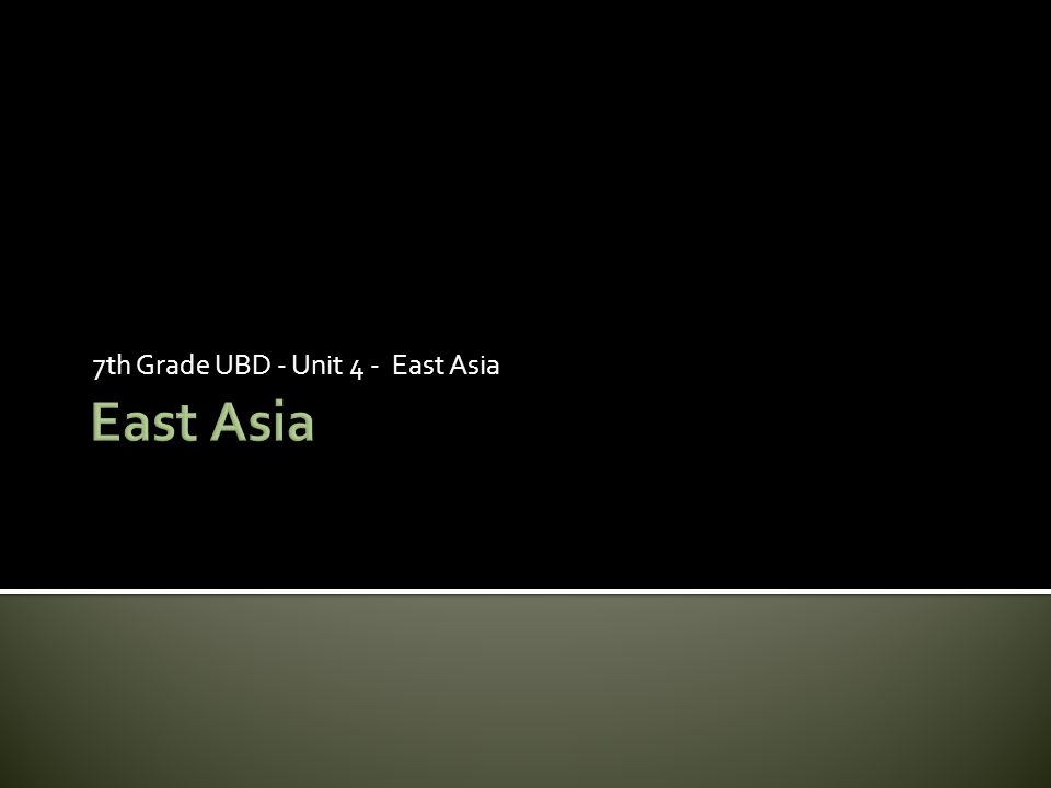 7th Grade UBD - Unit 4 - East Asia
