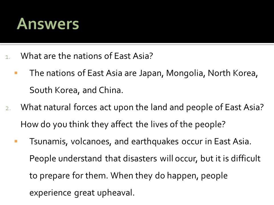Answers What are the nations of East Asia