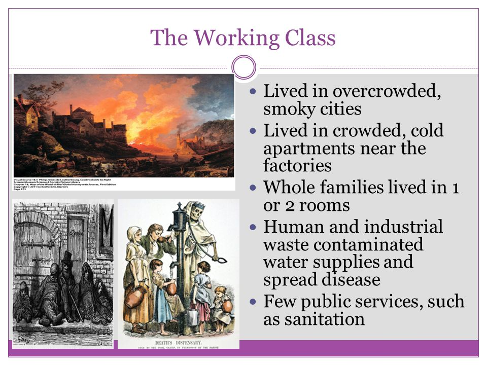 The Working Class Lived in overcrowded, smoky cities
