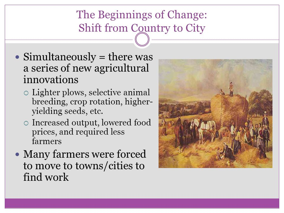 The Beginnings of Change: Shift from Country to City
