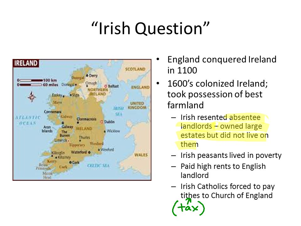 Irish Question England conquered Ireland in 1100