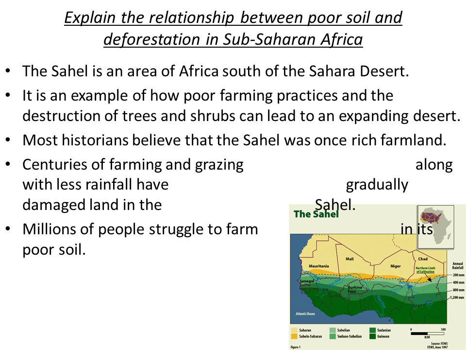 Explain the relationship between poor soil and deforestation in Sub-Saharan Africa