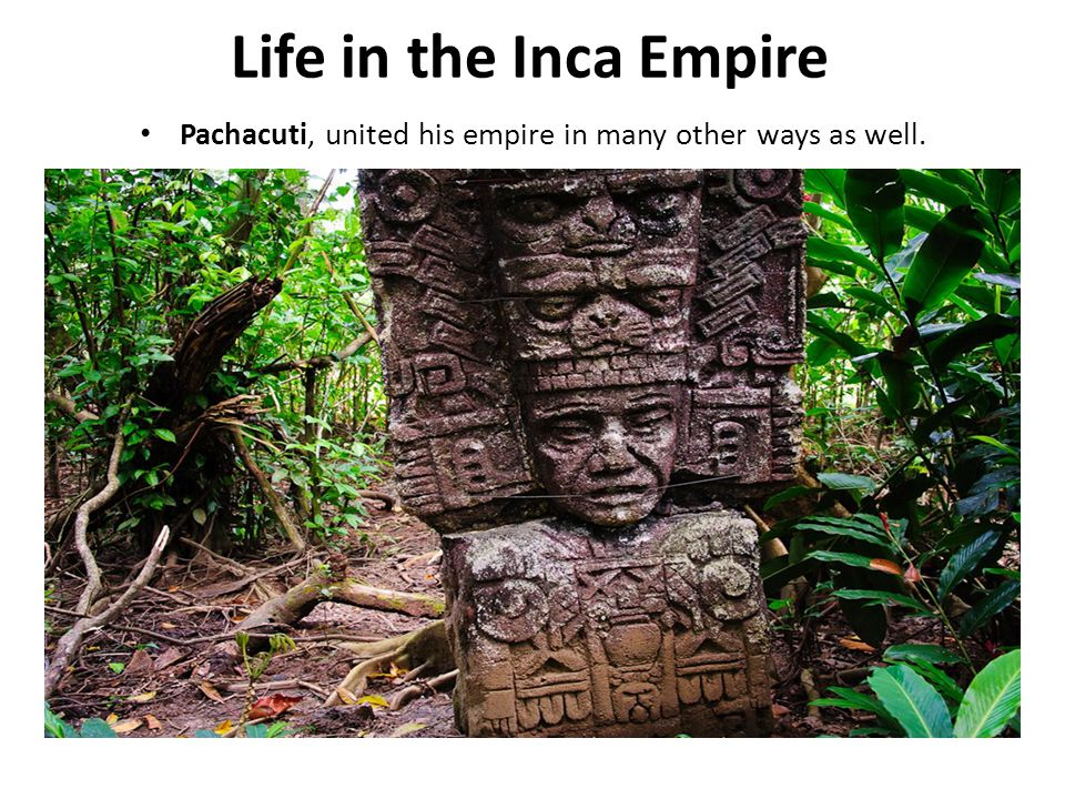Life in the Inca Empire Pachacuti, united his empire in many other ways as well.