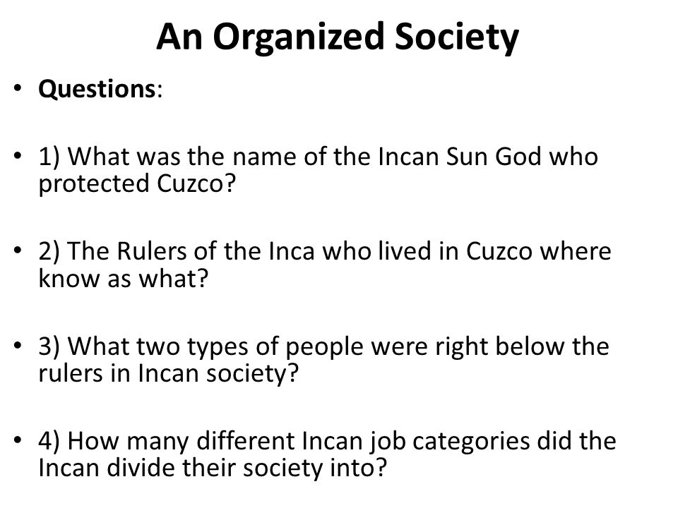 An Organized Society Questions: