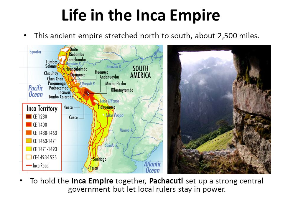 This ancient empire stretched north to south, about 2,500 miles.