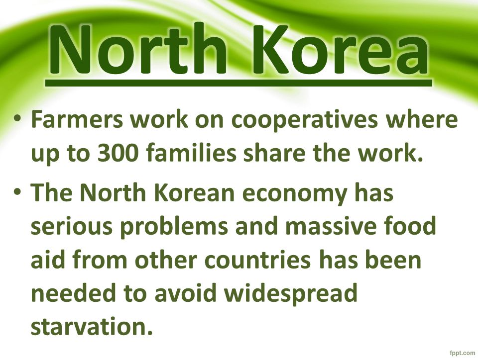North Korea Farmers work on cooperatives where up to 300 families share the work.