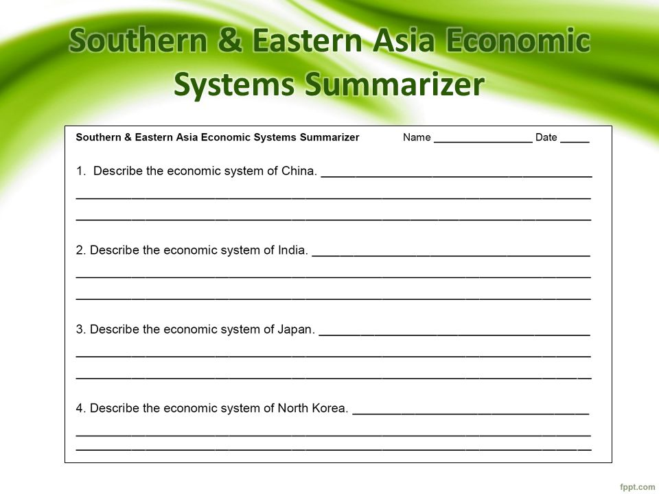Southern & Eastern Asia Economic Systems Summarizer