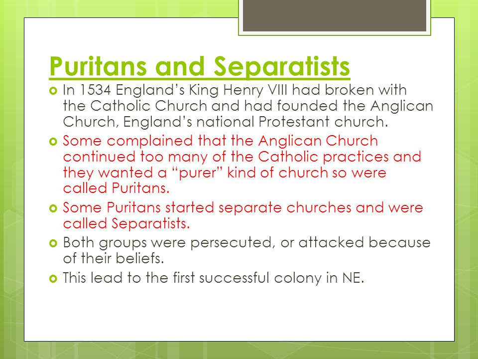 Puritans and Separatists