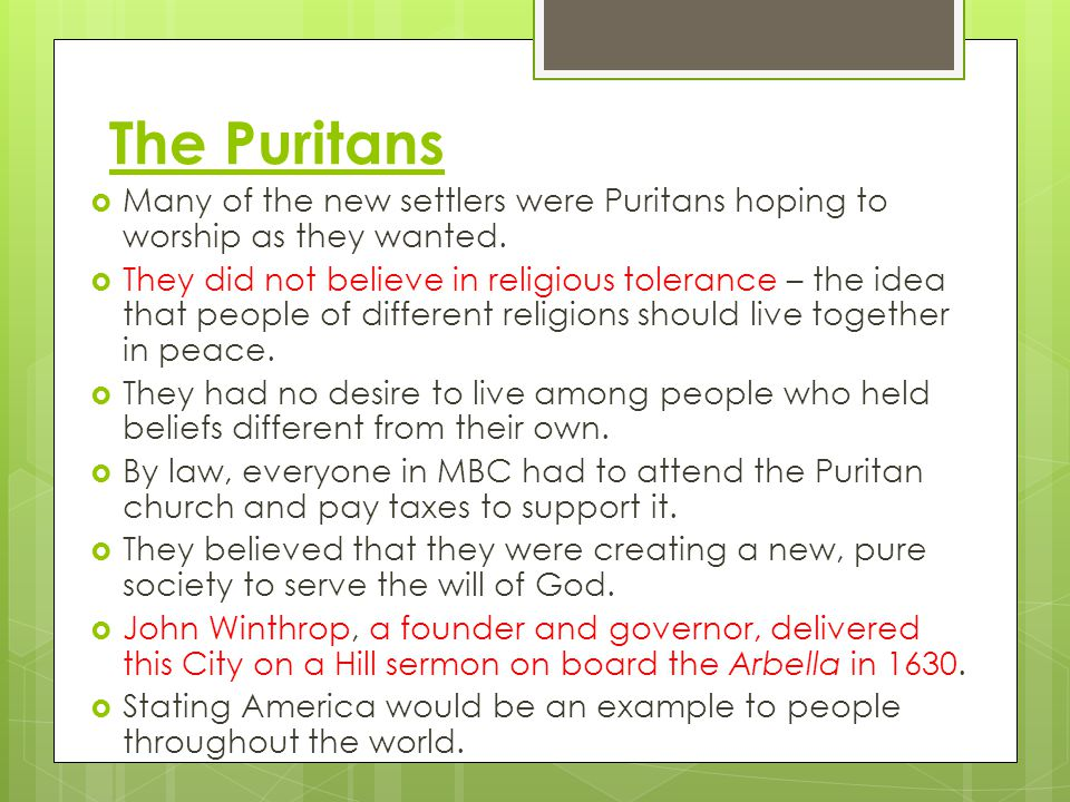 The Puritans Many of the new settlers were Puritans hoping to worship as they wanted.