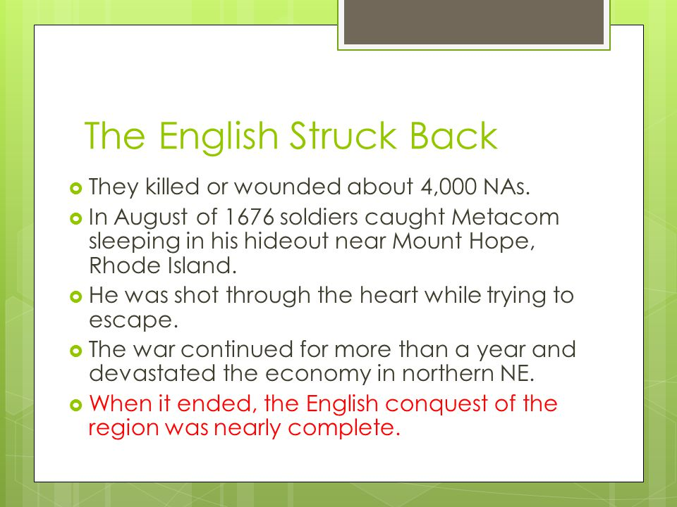 The English Struck Back