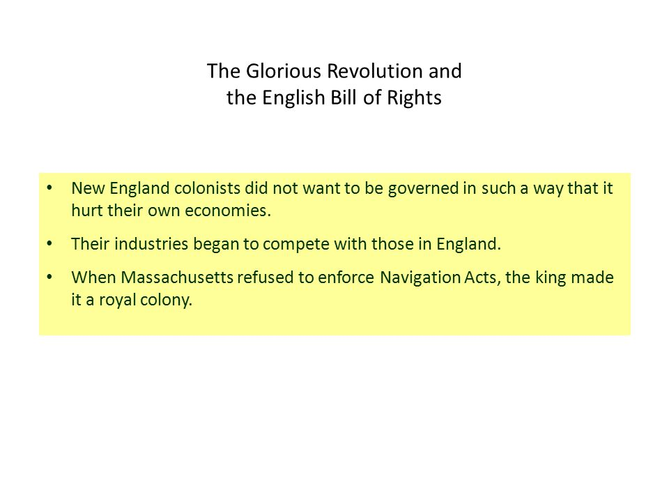 The Glorious Revolution and the English Bill of Rights