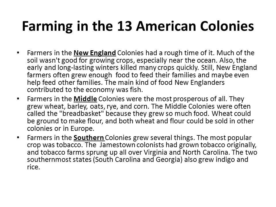 Farming in the 13 American Colonies