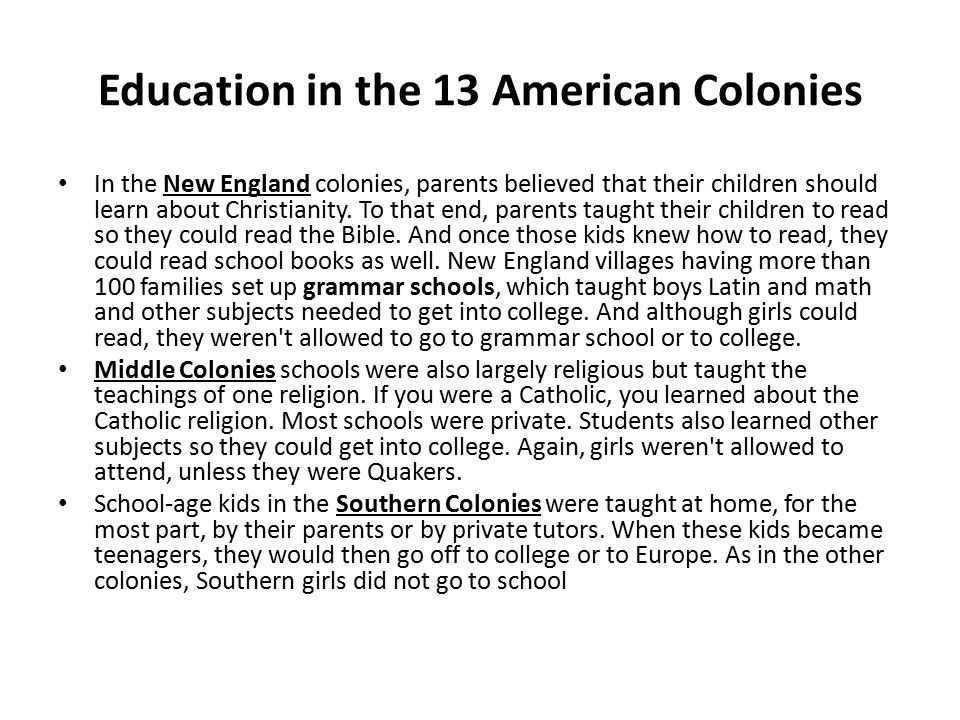 Education in the 13 American Colonies