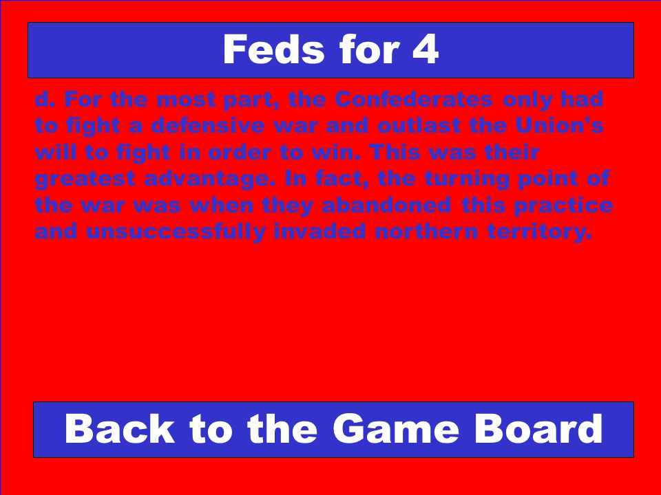 Feds for 4 Back to the Game Board