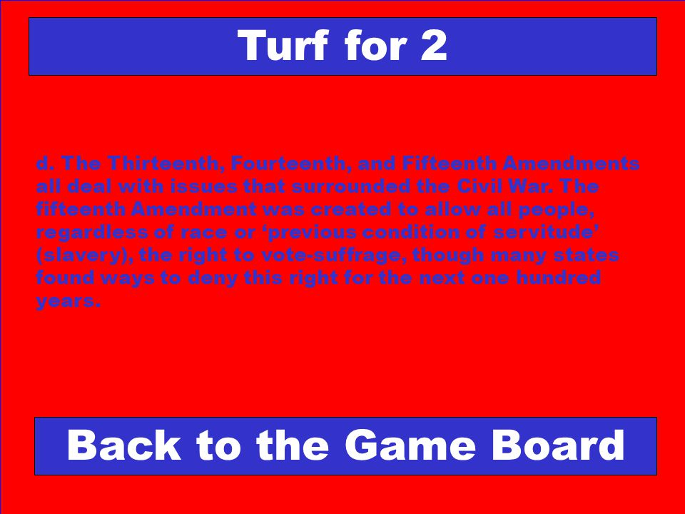 Turf for 2 Back to the Game Board