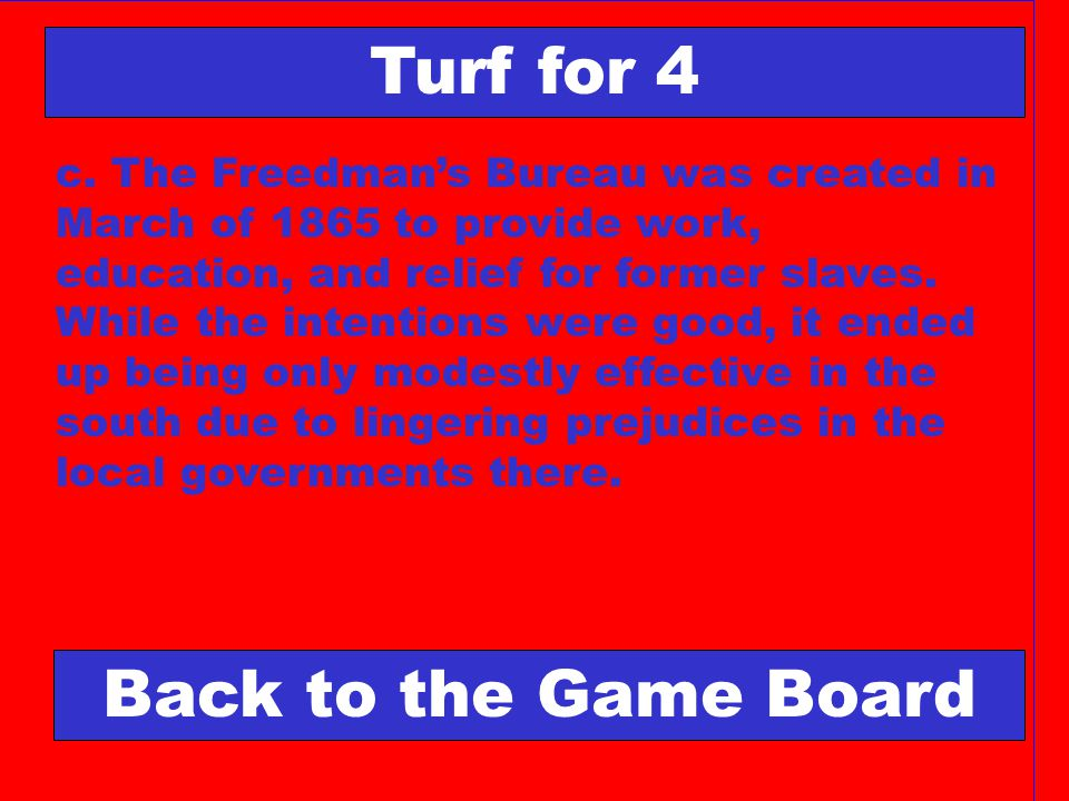 Turf for 4 Back to the Game Board