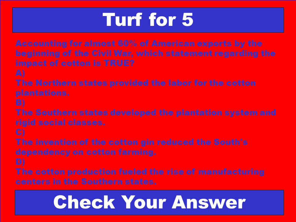 Turf for 5 Check Your Answer