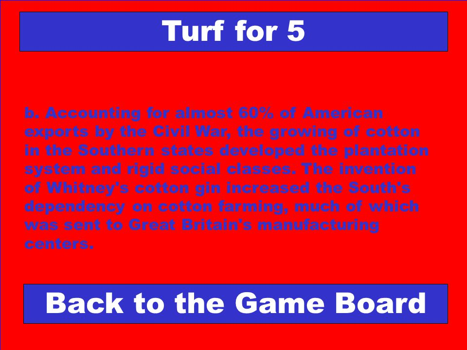 Turf for 5 Back to the Game Board