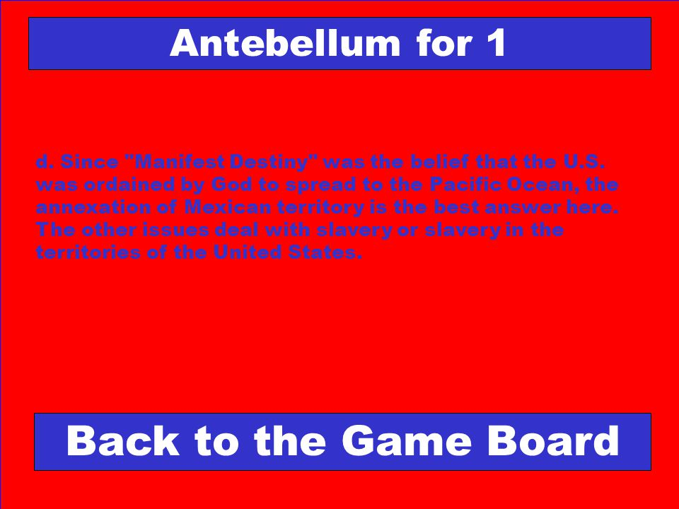 Back to the Game Board Antebellum for 1