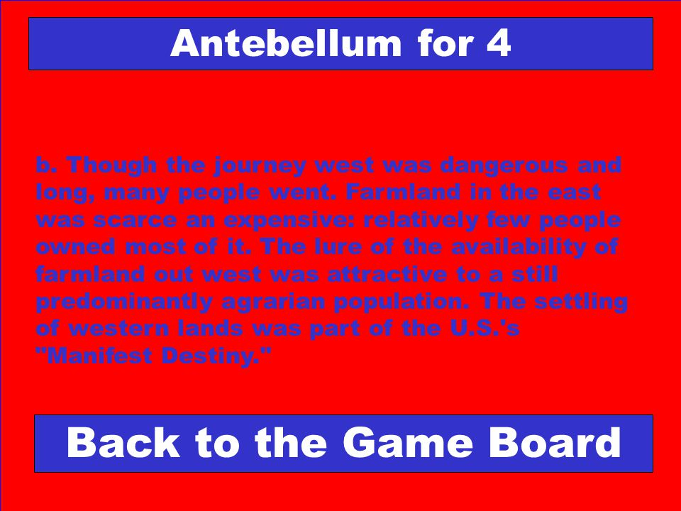 Back to the Game Board Antebellum for 4