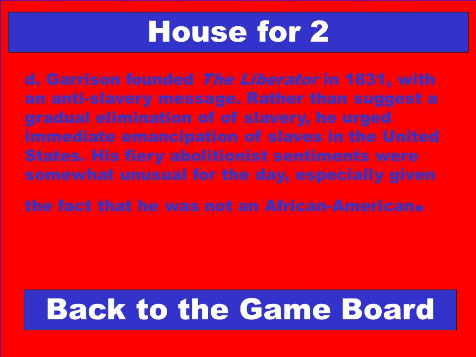 House for 2 Back to the Game Board