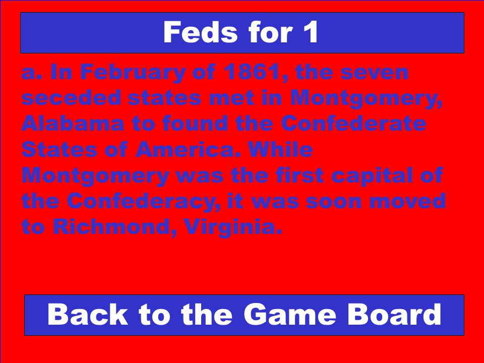 Feds for 1 Back to the Game Board