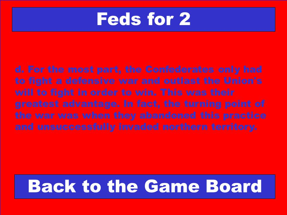 Feds for 2 Back to the Game Board