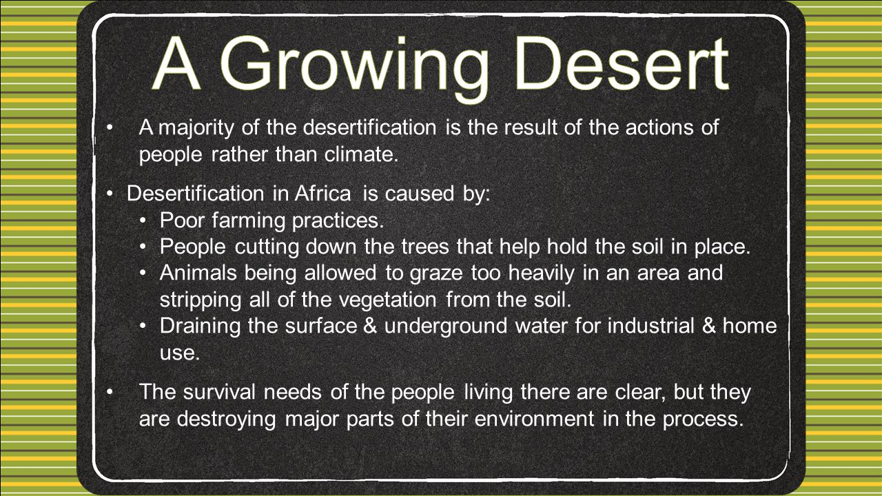 A Growing Desert A majority of the desertification is the result of the actions of people rather than climate.