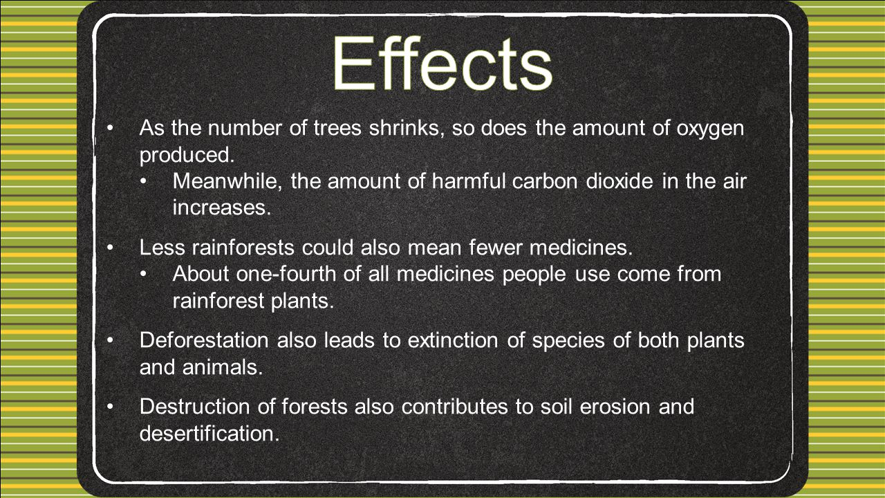 Effects As the number of trees shrinks, so does the amount of oxygen produced. Meanwhile, the amount of harmful carbon dioxide in the air increases.
