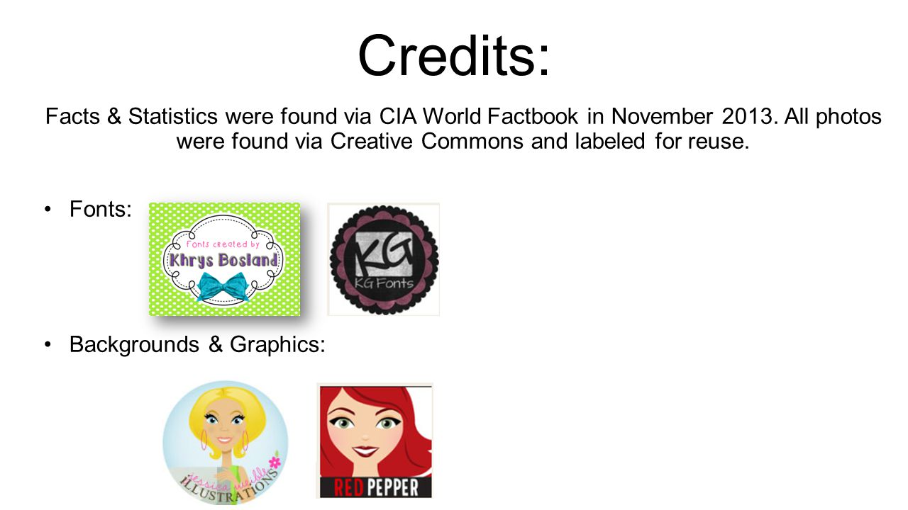 Credits: Facts & Statistics were found via CIA World Factbook in November 2013. All photos were found via Creative Commons and labeled for reuse.