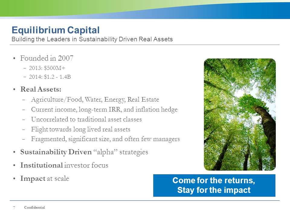 Equilibrium Capital Building the Leaders in Sustainability Driven Real Assets