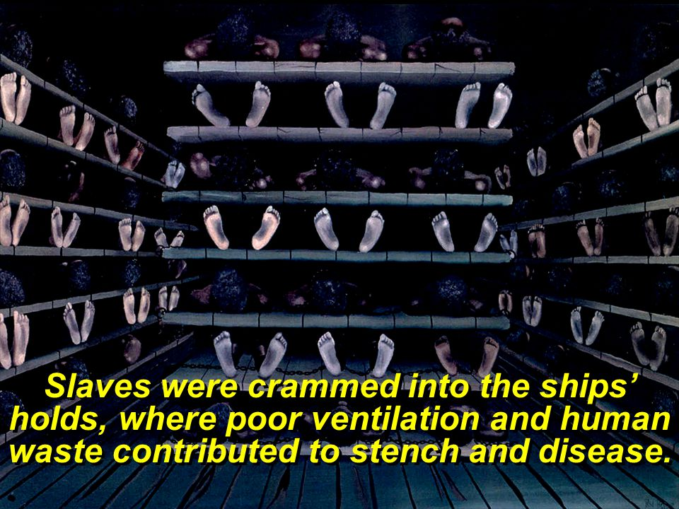 Slaves were crammed into the ships' holds, where poor ventilation and human waste contributed to stench and disease.