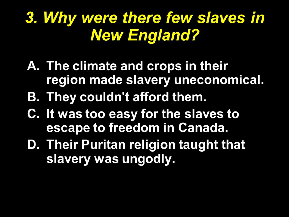 3. Why were there few slaves in New England