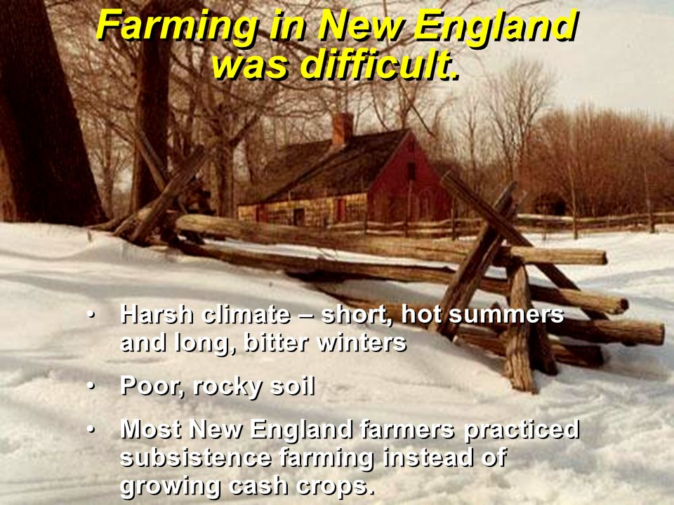 Farming in New England was difficult.