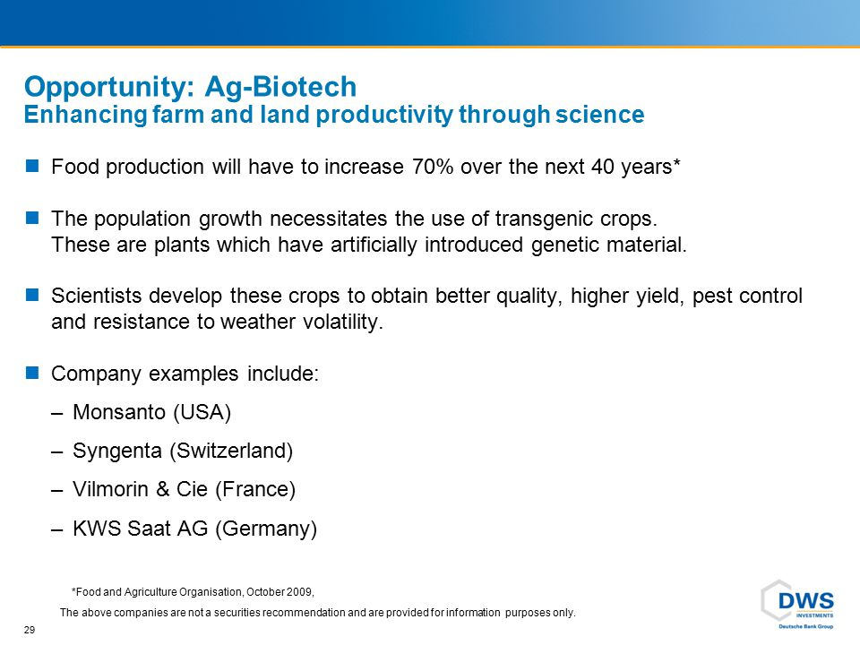 Global growth in genetically modified (GM) crops A huge investment opportunity - Essential to feed the word