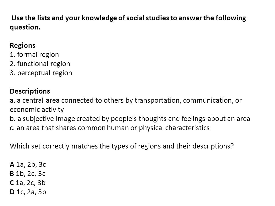 Use the lists and your knowledge of social studies to answer the following question.
